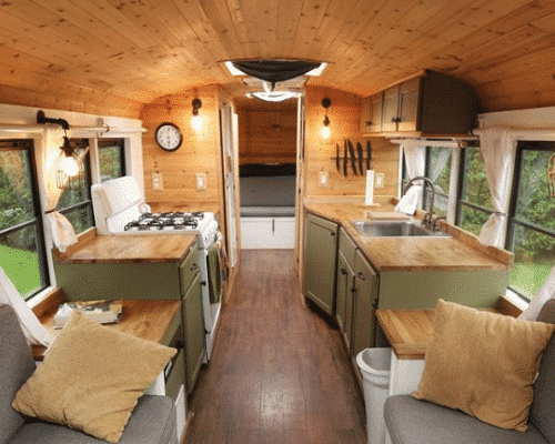 Green and Wood School Bus Conversion