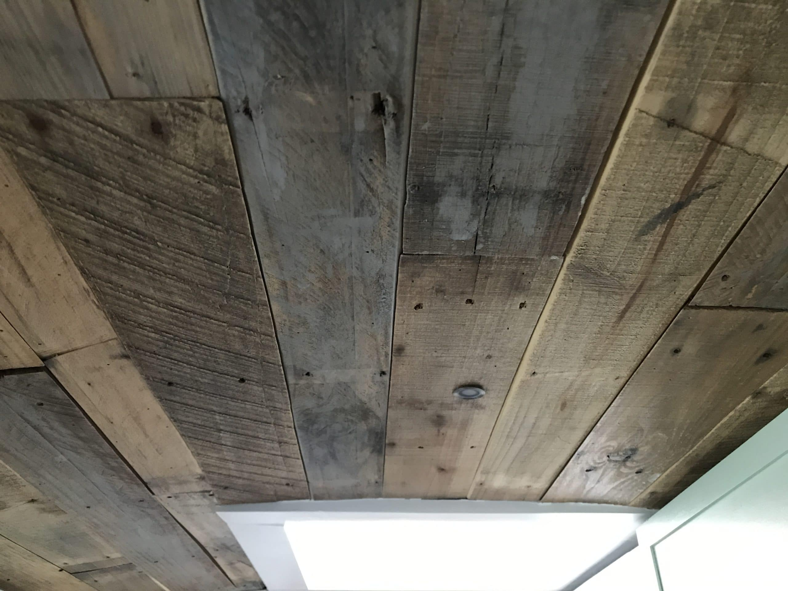 How to Create a Skoolie Pallet Ceiling