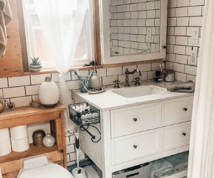 skoolie bathroom idea with white subway tile